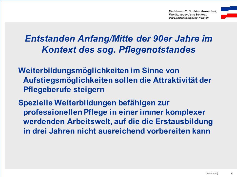 Ministerium für Soziales, Gesundheit, Familie, Jugend und Senioren des Landes Schleswig-Holstein IXnnn mm/jj 4 Entstanden Anfang/Mitte der 90er Jahre