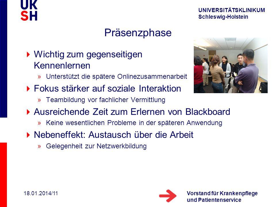 UNIVERSITÄTSKLINIKUM Schleswig-Holstein Vorstand für Krankenpflege und Patientenservice 18.01.2014/11 Präsenzphase Wichtig zum gegenseitigen Kennenler