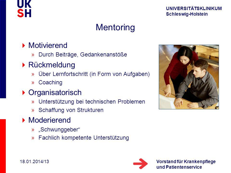 UNIVERSITÄTSKLINIKUM Schleswig-Holstein Vorstand für Krankenpflege und Patientenservice 18.01.2014/13 Mentoring Motivierend »Durch Beiträge, Gedankena