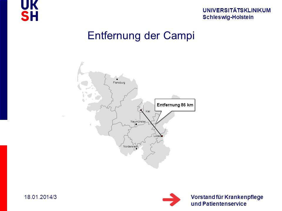UNIVERSITÄTSKLINIKUM Schleswig-Holstein Vorstand für Krankenpflege und Patientenservice 18.01.2014/3 Kiel Flensburg Lübeck Neumünster Norderstedt Entf