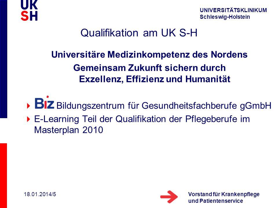 UNIVERSITÄTSKLINIKUM Schleswig-Holstein Vorstand für Krankenpflege und Patientenservice 18.01.2014/5 Qualifikation am UK S-H Universitäre Medizinkompe