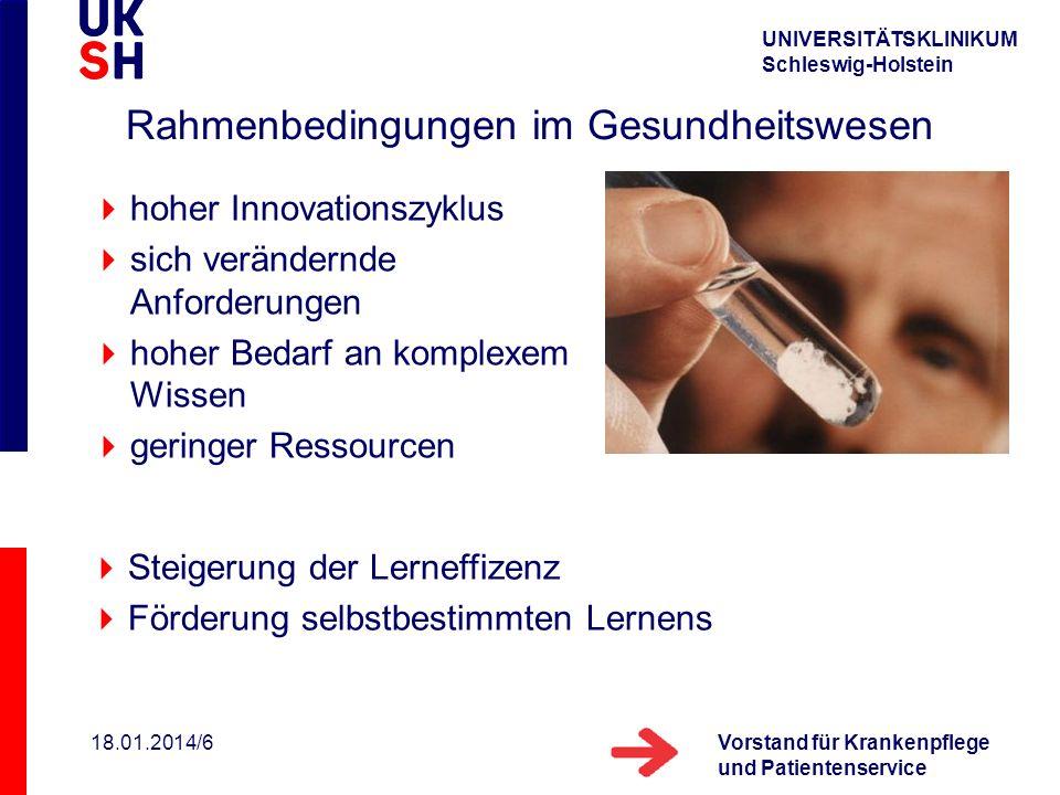 UNIVERSITÄTSKLINIKUM Schleswig-Holstein Vorstand für Krankenpflege und Patientenservice 18.01.2014/6 Rahmenbedingungen im Gesundheitswesen hoher Innov