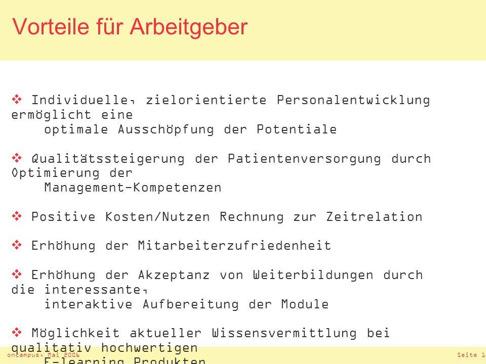 oncampus, Mai 2006Seite 16 Vorzüge der Online Weiterbildung Flexibilität: zeitliche und räumliche Freiheit – 24 Std.