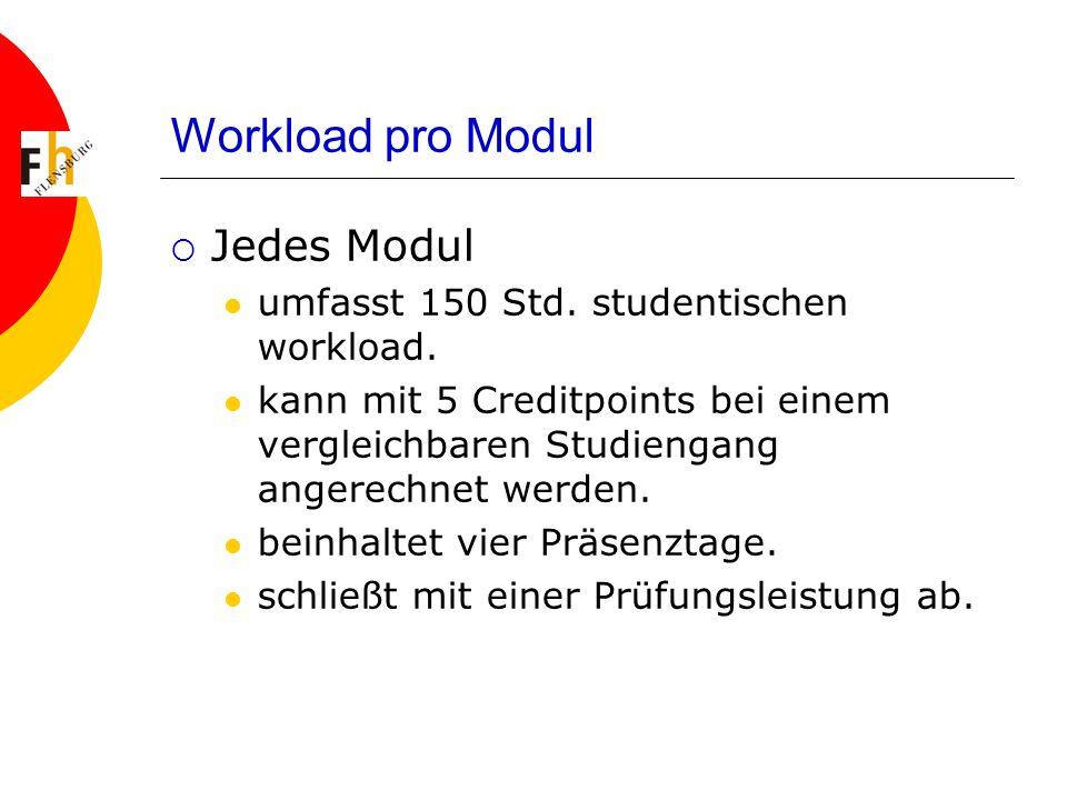 Workload pro Modul Jedes Modul umfasst 150 Std. studentischen workload.