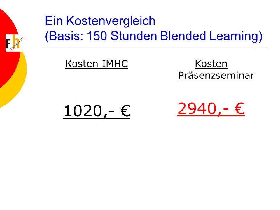 Ein Kostenvergleich (Basis: 150 Stunden Blended Learning) Kosten IMHC 1020,- Kosten Präsenzseminar 2940,-