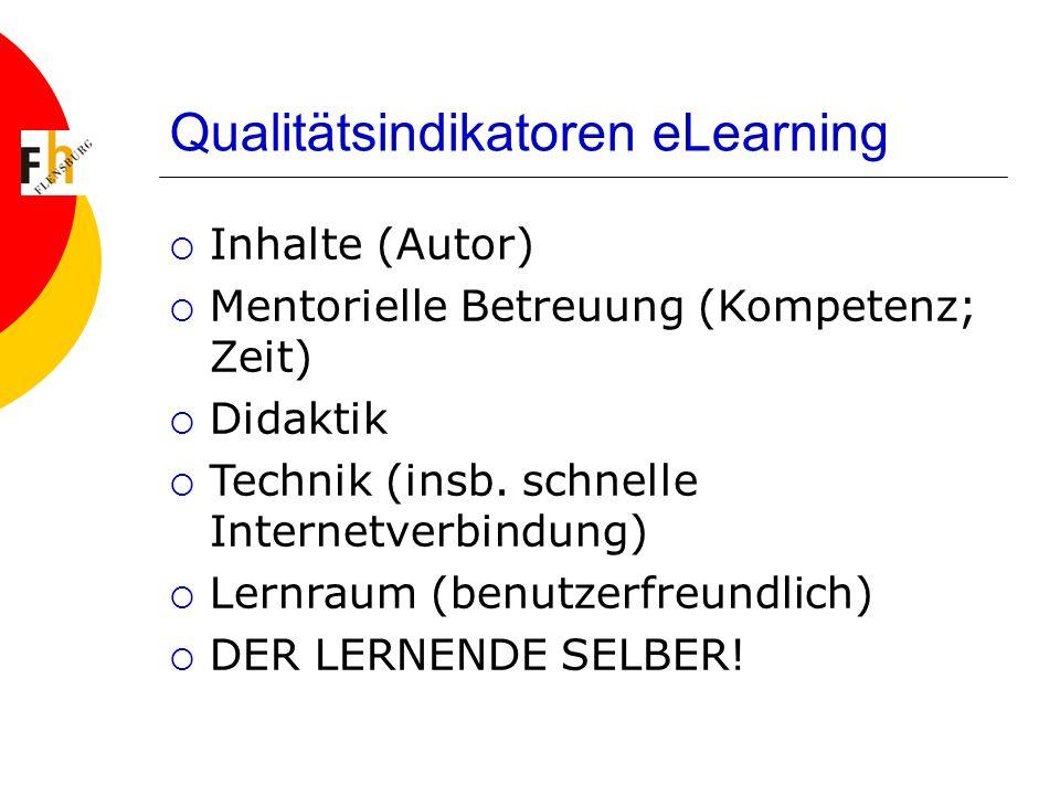 Qualitätsindikatoren eLearning Inhalte (Autor) Mentorielle Betreuung (Kompetenz; Zeit) Didaktik Technik (insb. schnelle Internetverbindung) Lernraum (