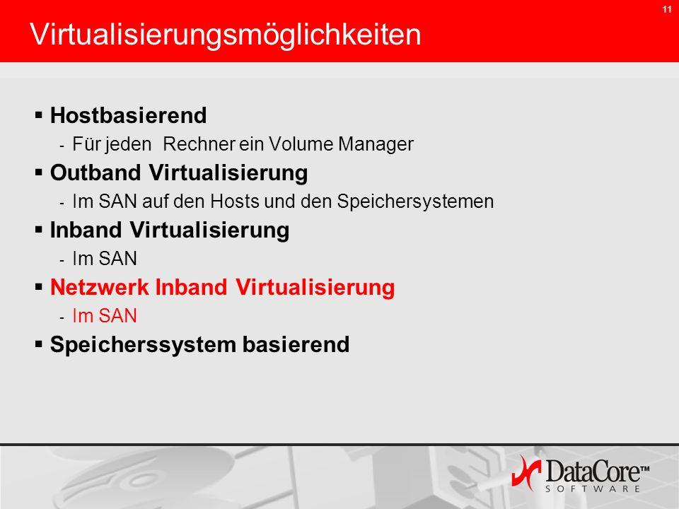 11 Virtualisierungsmöglichkeiten Hostbasierend - Für jeden Rechner ein Volume Manager Outband Virtualisierung - Im SAN auf den Hosts und den Speichers
