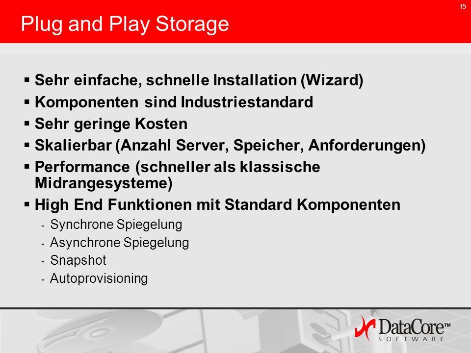 15 Plug and Play Storage Sehr einfache, schnelle Installation (Wizard) Komponenten sind Industriestandard Sehr geringe Kosten Skalierbar (Anzahl Serve