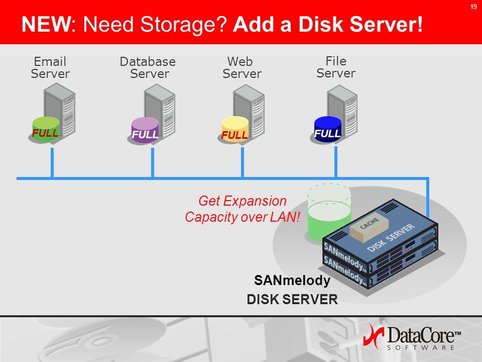 19 NEW: Need Storage? Add a Disk Server! Email Server Web Server Database Server File Server Get Expansion Capacity over LAN! SANmelody DISK SERVER FU