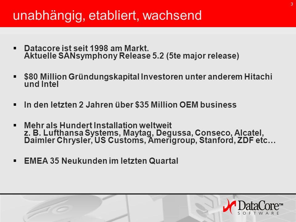 3 Datacore ist seit 1998 am Markt. Aktuelle SANsymphony Release 5.2 (5te major release) $80 Million Gründungskapital Investoren unter anderem Hitachi