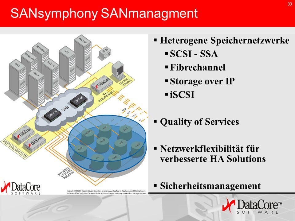 33 SANsymphony SANmanagment Heterogene Speichernetzwerke SCSI - SSA Fibrechannel Storage over IP iSCSI Quality of Services Netzwerkflexibilität für ve