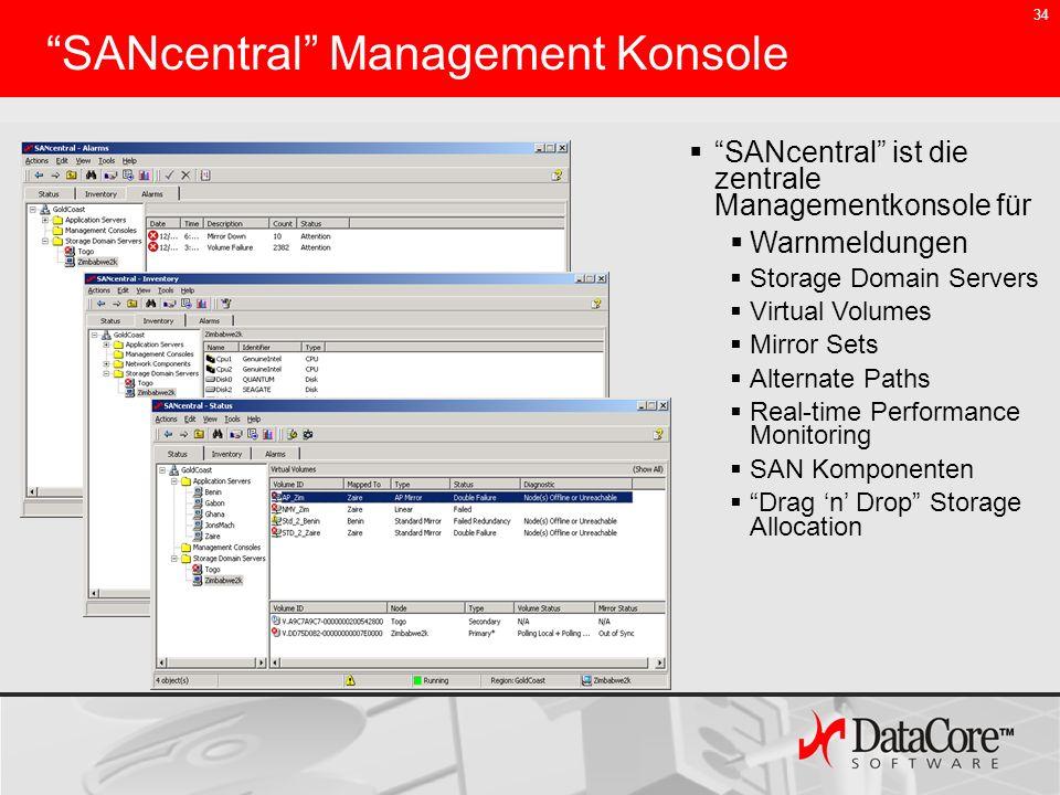 34 SANcentral Management Konsole SANcentral ist die zentrale Managementkonsole für Warnmeldungen Storage Domain Servers Virtual Volumes Mirror Sets Al