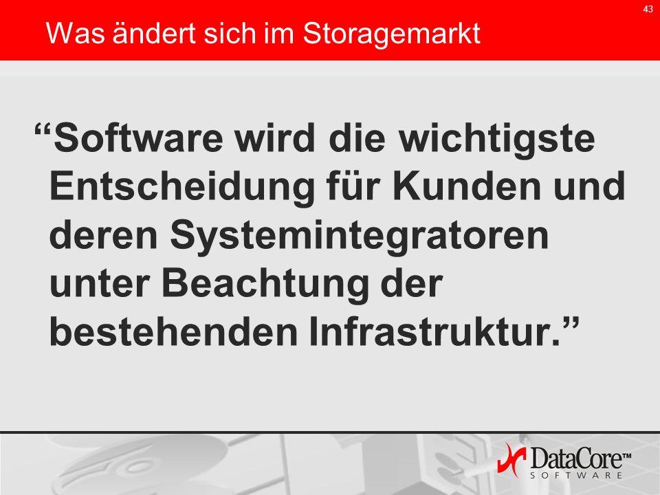 43 Software wird die wichtigste Entscheidung für Kunden und deren Systemintegratoren unter Beachtung der bestehenden Infrastruktur. Was ändert sich im