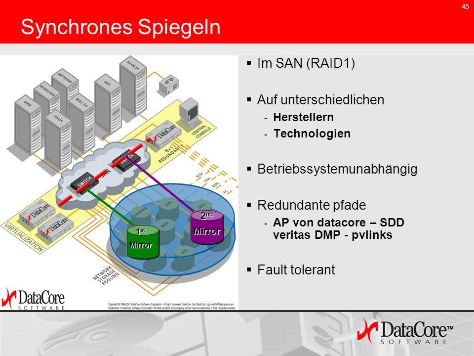 45 Synchrones Spiegeln Im SAN (RAID1) Auf unterschiedlichen - Herstellern - Technologien Betriebssystemunabhängig Redundante pfade - AP von datacore –