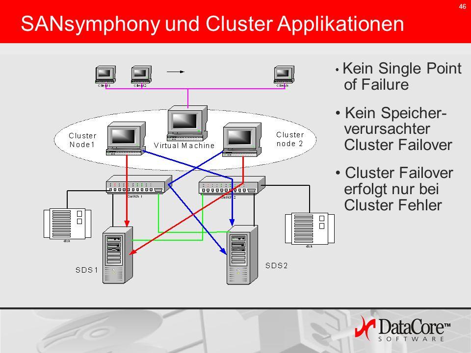 46 SANsymphony und Cluster Applikationen Kein Single Point of Failure Kein Speicher- verursachter Cluster Failover Cluster Failover erfolgt nur bei Cl