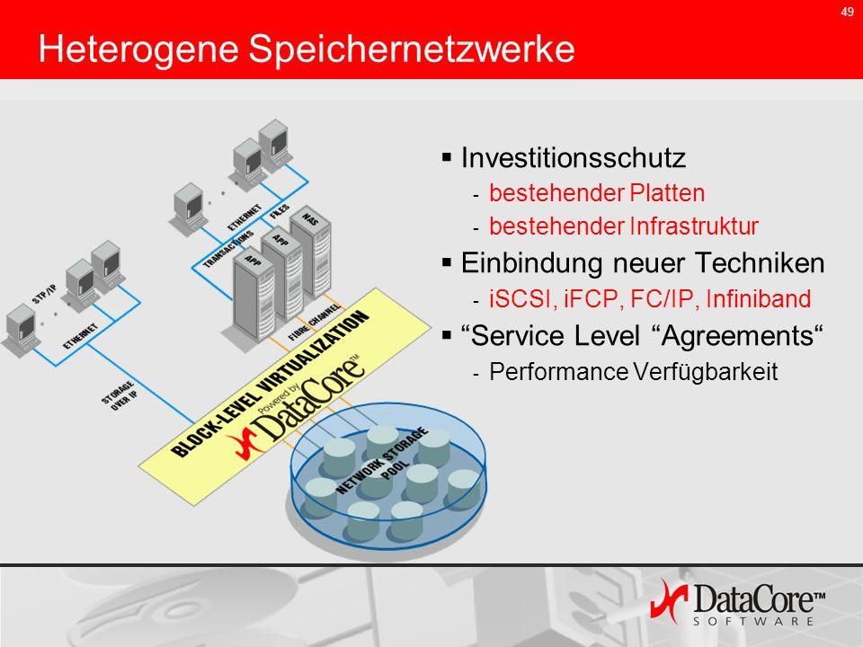 49 Heterogene Speichernetzwerke Investitionsschutz - bestehender Platten - bestehender Infrastruktur Einbindung neuer Techniken - iSCSI, iFCP, FC/IP,
