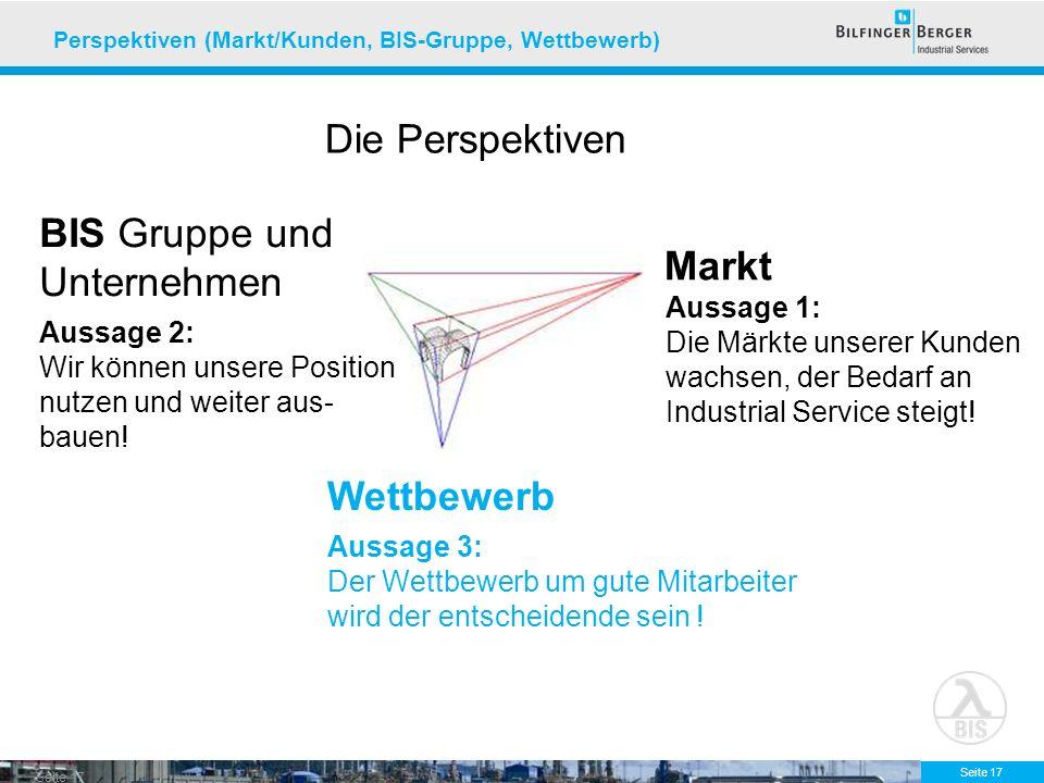 Seite 17 Markt Wettbewerb BIS Gruppe und Unternehmen Aussage 1: Die Märkte unserer Kunden wachsen, der Bedarf an Industrial Service steigt! Aussage 2:
