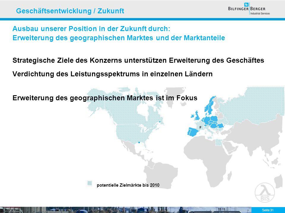 Seite 31 potentielle Zielmärkte bis 2010 F F Ausbau unserer Position in der Zukunft durch: Erweiterung des geographischen Marktes und der Marktanteile