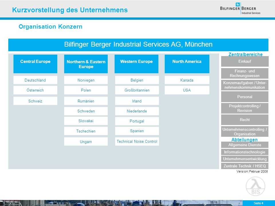 Seite 4 Bilfinger Berger Industrial Services AG, München Finanz- und Rechnungswesen Personal Recht Projektcontrolling / Revision Unternehmensentwicklu