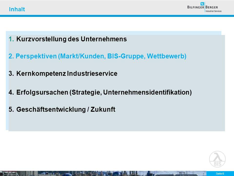 Seite 6 Inhalt 1.Kurzvorstellung des Unternehmens 2. Perspektiven (Markt/Kunden, BIS-Gruppe, Wettbewerb) 3.Kernkompetenz Industrieservice 4.Erfolgsurs