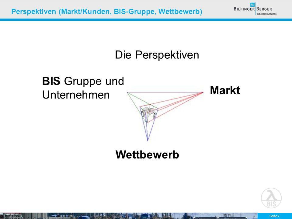 Seite 8 Perspektiven (Markt/Kunden, BIS-Gruppe, Wettbewerb) Markt Wettbewerb BIS Gruppe und Unternehmen Aussage 1: Die Märkte unserer Kunden wachsen, der Bedarf an Industrial Service steigt.