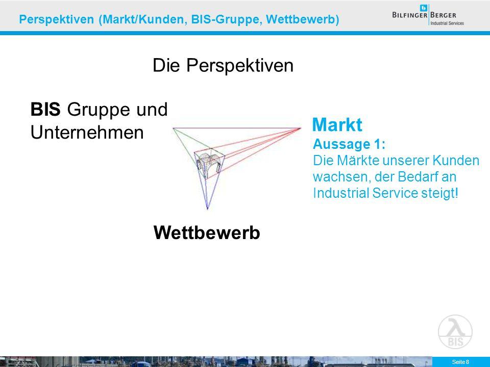 Seite 8 Perspektiven (Markt/Kunden, BIS-Gruppe, Wettbewerb) Markt Wettbewerb BIS Gruppe und Unternehmen Aussage 1: Die Märkte unserer Kunden wachsen,