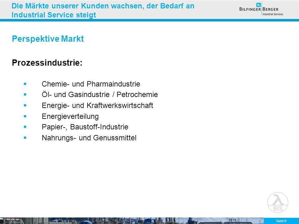 Seite 9 Die Märkte unserer Kunden wachsen, der Bedarf an Industrial Service steigt Perspektive Markt Prozessindustrie: Chemie- und Pharmaindustrie Öl-