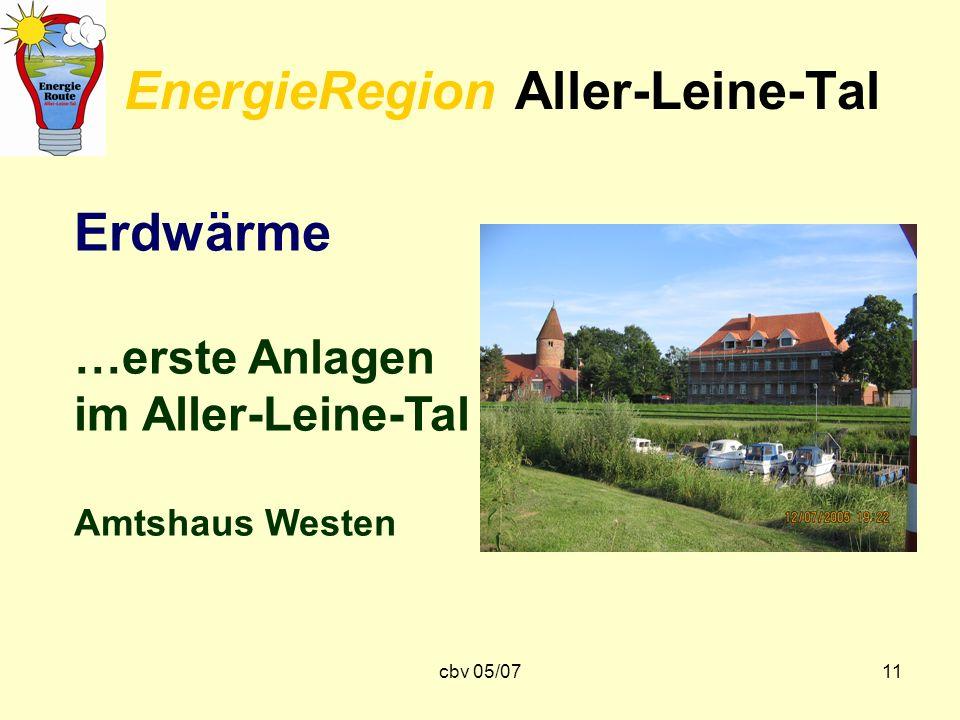 cbv 05/0711 EnergieRegion Aller-Leine-Tal Erdwärme …erste Anlagen im Aller-Leine-Tal Amtshaus Westen