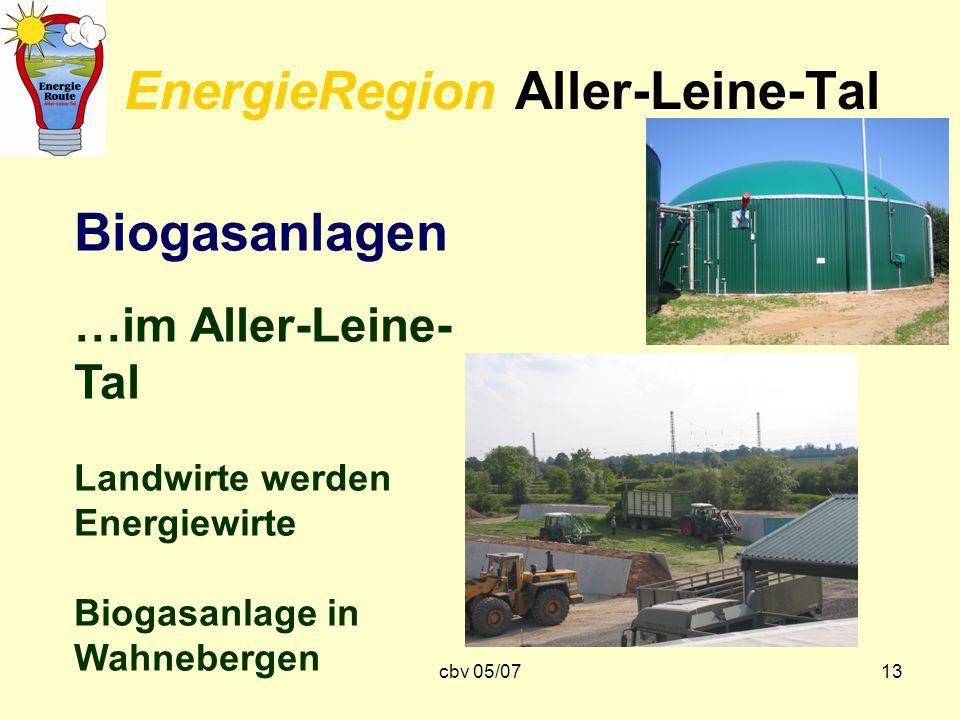 cbv 05/0713 EnergieRegion Aller-Leine-Tal Biogasanlagen …im Aller-Leine- Tal Landwirte werden Energiewirte Biogasanlage in Wahnebergen