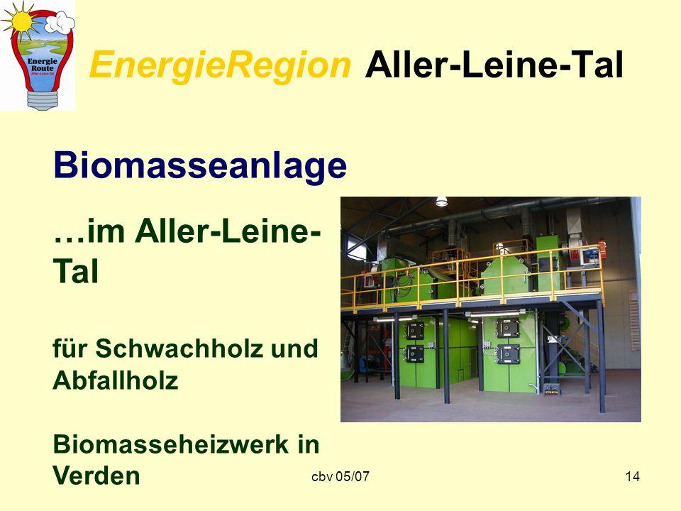 cbv 05/0714 EnergieRegion Aller-Leine-Tal Biomasseanlage …im Aller-Leine- Tal für Schwachholz und Abfallholz Biomasseheizwerk in Verden