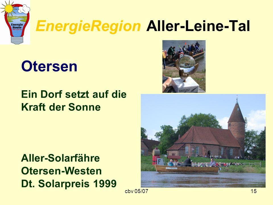 cbv 05/0715 EnergieRegion Aller-Leine-Tal Otersen Ein Dorf setzt auf die Kraft der Sonne Aller-Solarfähre Otersen-Westen Dt. Solarpreis 1999