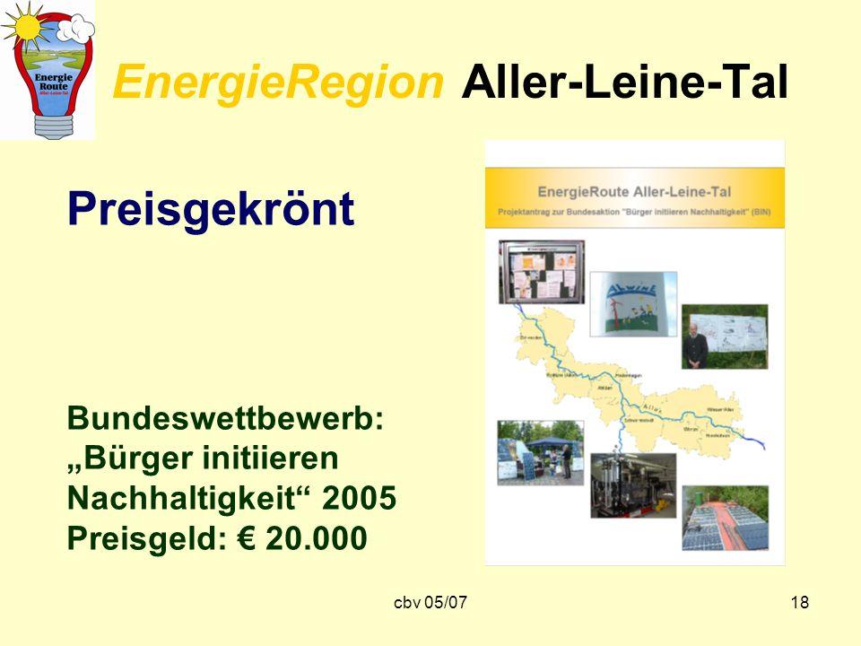 cbv 05/0718 EnergieRegion Aller-Leine-Tal Preisgekrönt Bundeswettbewerb: Bürger initiieren Nachhaltigkeit 2005 Preisgeld: 20.000