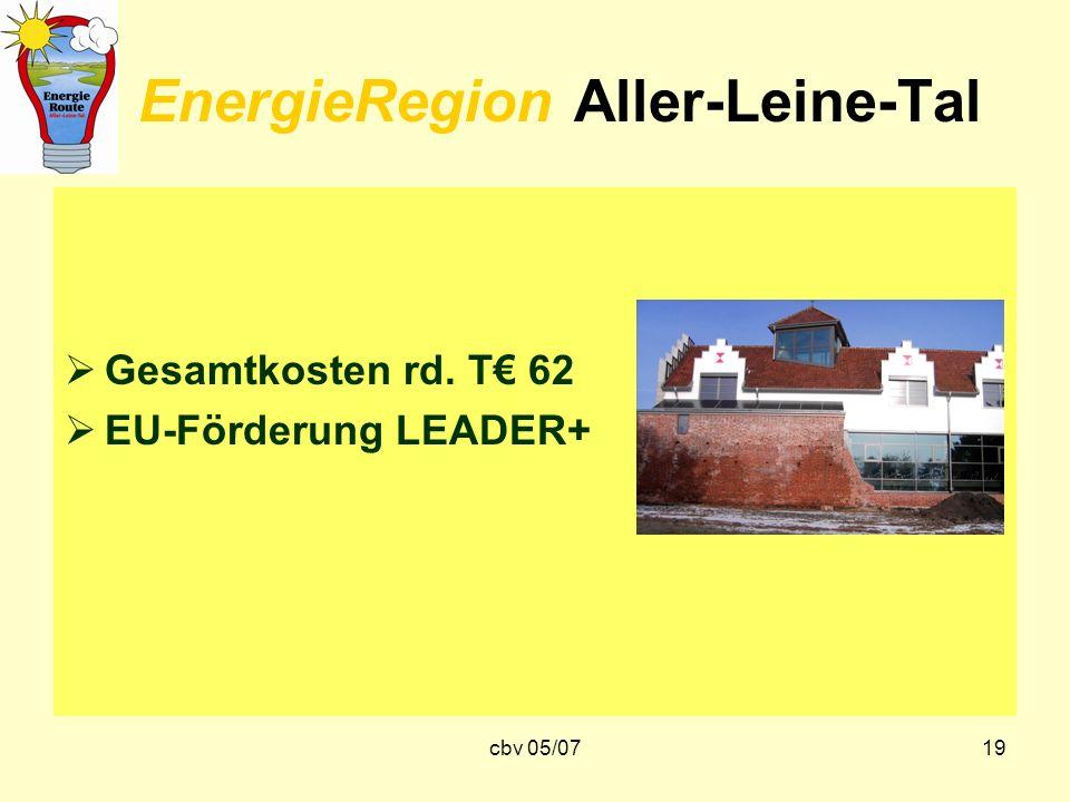 cbv 05/0719 EnergieRegion Aller-Leine-Tal Gesamtkosten rd. T 62 EU-Förderung LEADER+