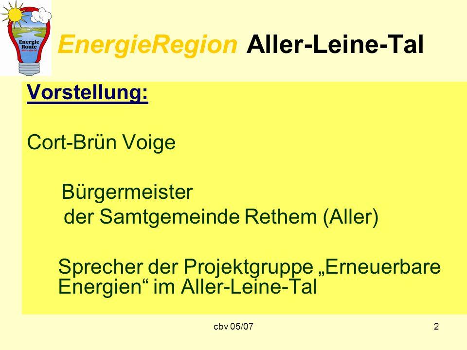 cbv 05/072 EnergieRegion Aller-Leine-Tal Vorstellung: Cort-Brün Voige Bürgermeister der Samtgemeinde Rethem (Aller) Sprecher der Projektgruppe Erneuer