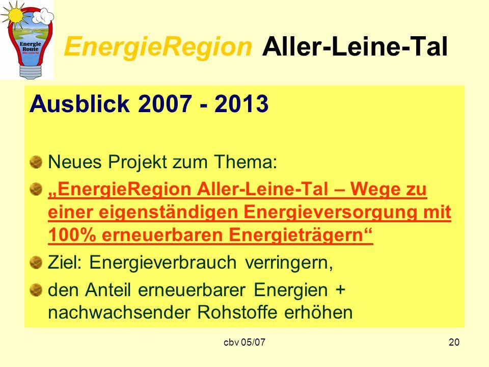 cbv 05/0720 EnergieRegion Aller-Leine-Tal Ausblick 2007 - 2013 Neues Projekt zum Thema: EnergieRegion Aller-Leine-Tal – Wege zu einer eigenständigen E