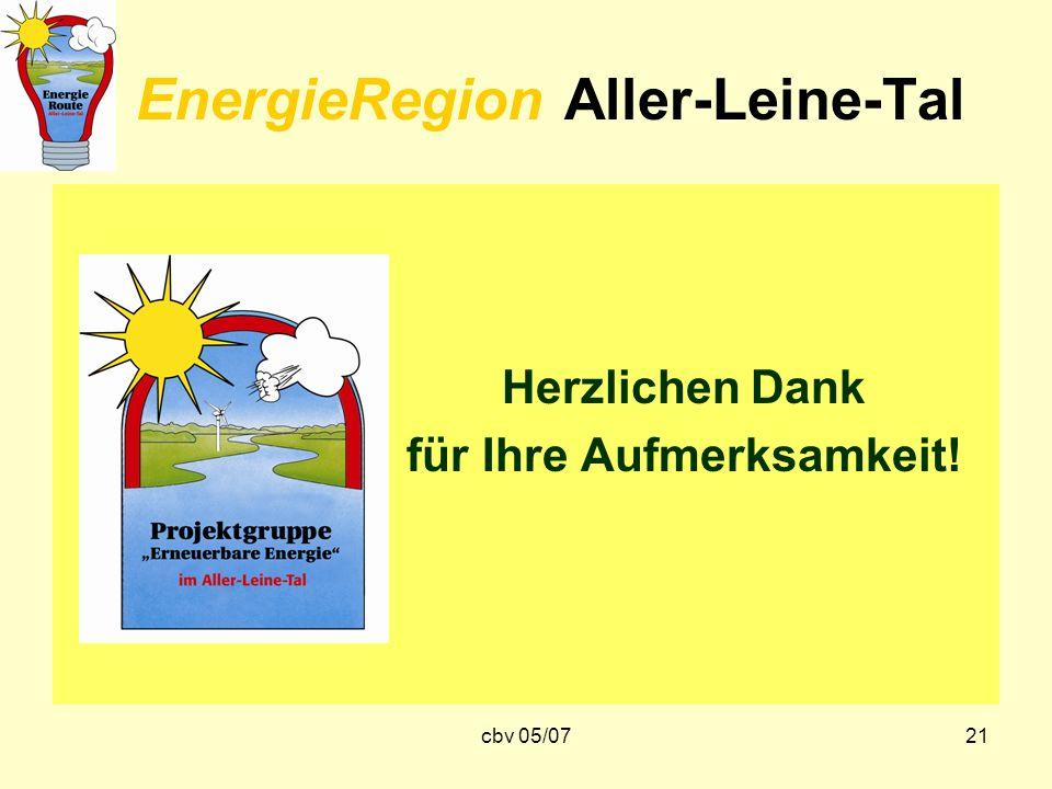 cbv 05/0721 EnergieRegion Aller-Leine-Tal Herzlichen Dank für Ihre Aufmerksamkeit!