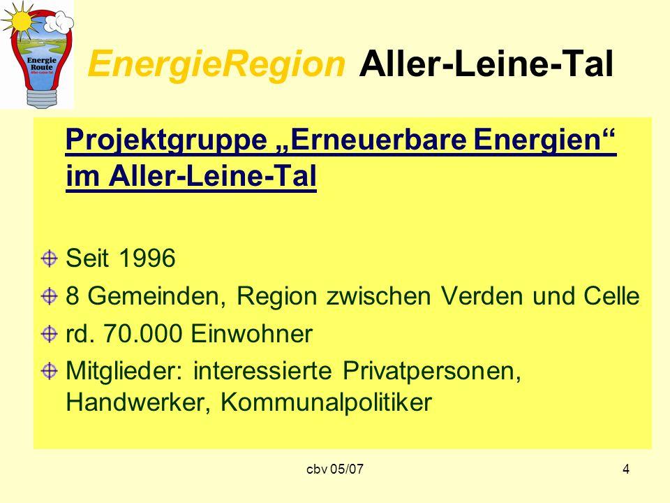 cbv 05/074 EnergieRegion Aller-Leine-Tal Projektgruppe Erneuerbare Energien im Aller-Leine-Tal Seit 1996 8 Gemeinden, Region zwischen Verden und Celle
