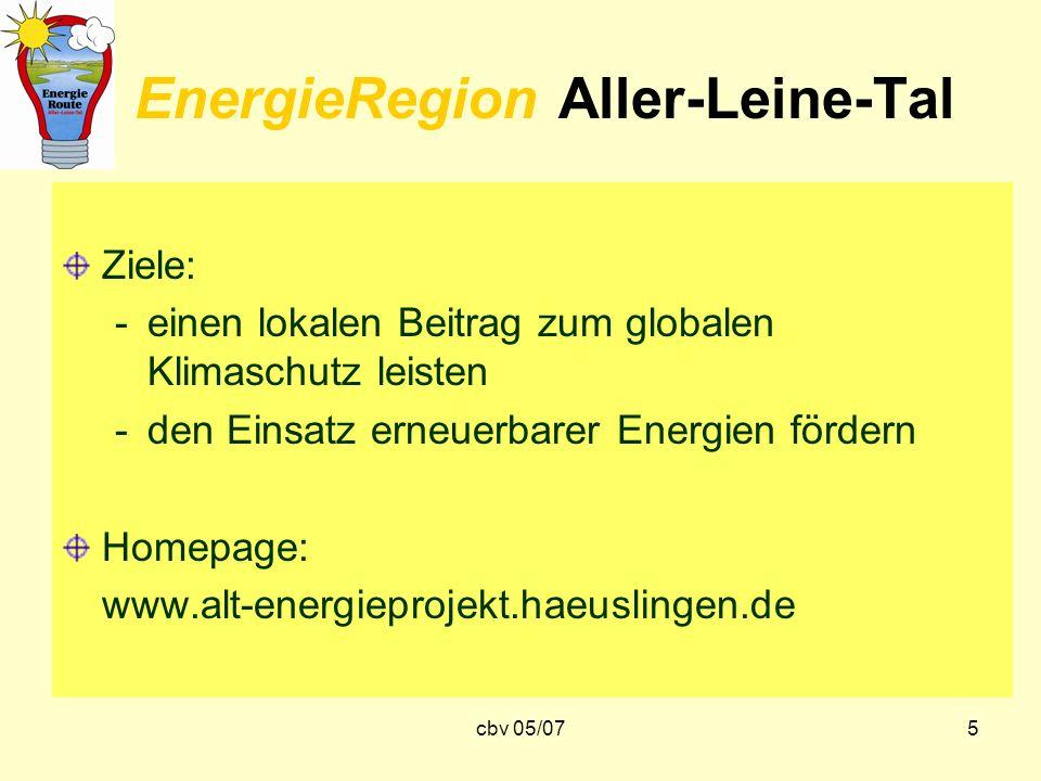cbv 05/075 EnergieRegion Aller-Leine-Tal Ziele: -einen lokalen Beitrag zum globalen Klimaschutz leisten -den Einsatz erneuerbarer Energien fördern Hom
