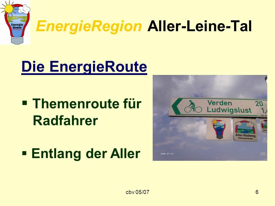 cbv 05/076 EnergieRegion Aller-Leine-Tal Die EnergieRoute Themenroute für Radfahrer Entlang der Aller