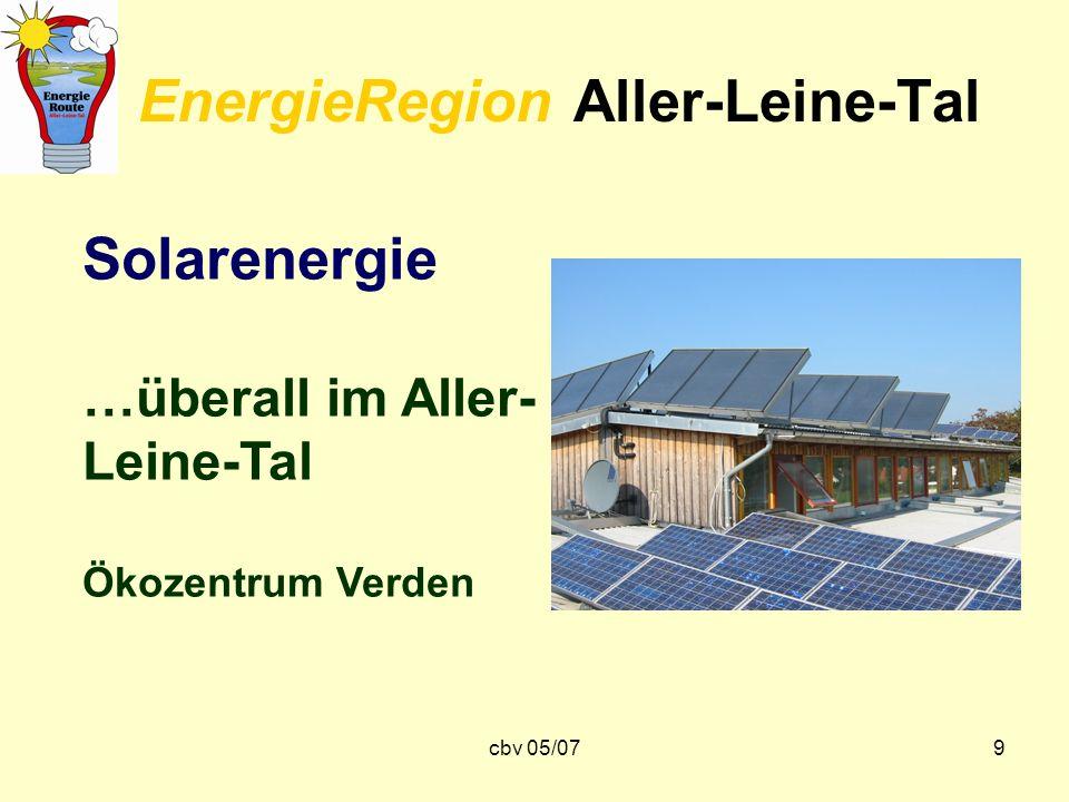 cbv 05/079 EnergieRegion Aller-Leine-Tal Solarenergie …überall im Aller- Leine-Tal Ökozentrum Verden
