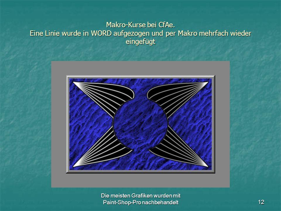 Die meisten Grafiken wurden mit Paint-Shop-Pro nachbehandelt12 Makro-Kurse bei CfAe.