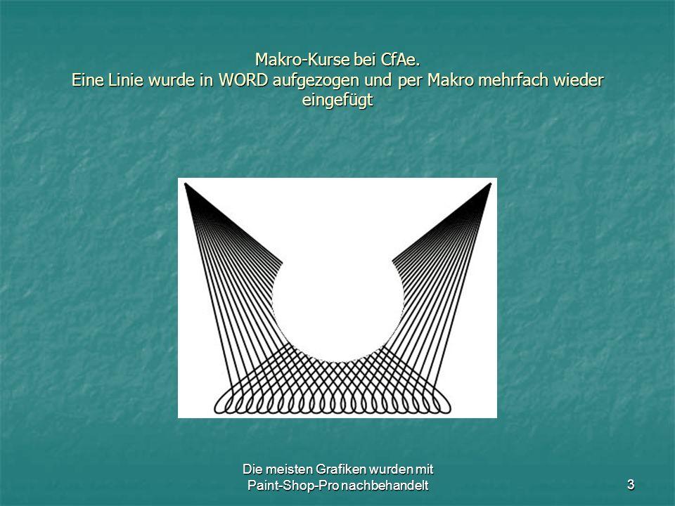 Die meisten Grafiken wurden mit Paint-Shop-Pro nachbehandelt14 Makro-Kurse bei CfAe.