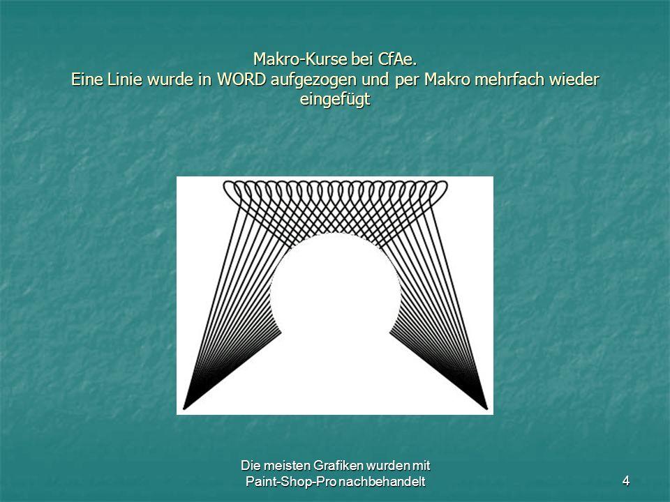 Die meisten Grafiken wurden mit Paint-Shop-Pro nachbehandelt15 Makro-Kurse bei CfAe.