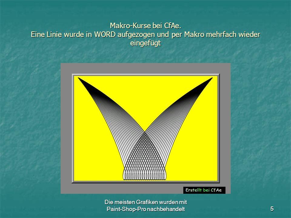 Die meisten Grafiken wurden mit Paint-Shop-Pro nachbehandelt5 Makro-Kurse bei CfAe.