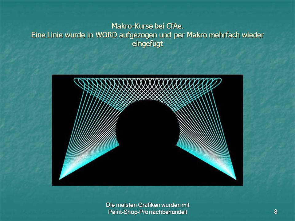 Die meisten Grafiken wurden mit Paint-Shop-Pro nachbehandelt8 Makro-Kurse bei CfAe.