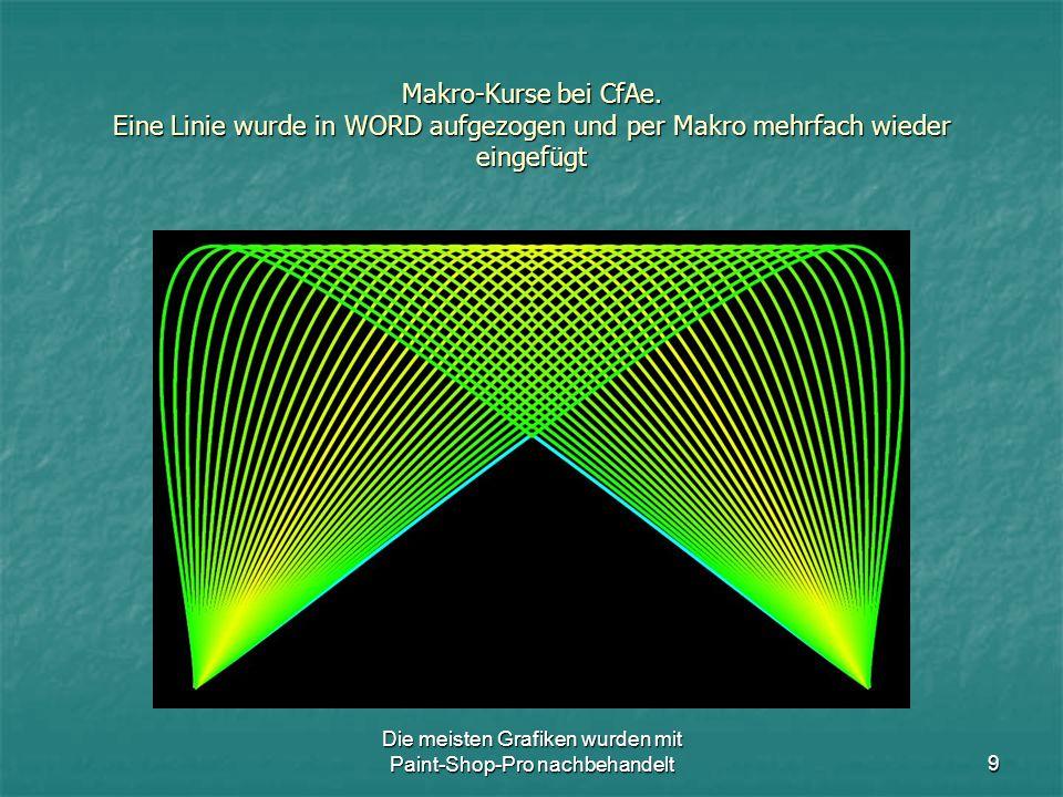 Die meisten Grafiken wurden mit Paint-Shop-Pro nachbehandelt10 Makro-Kurse bei CfAe.