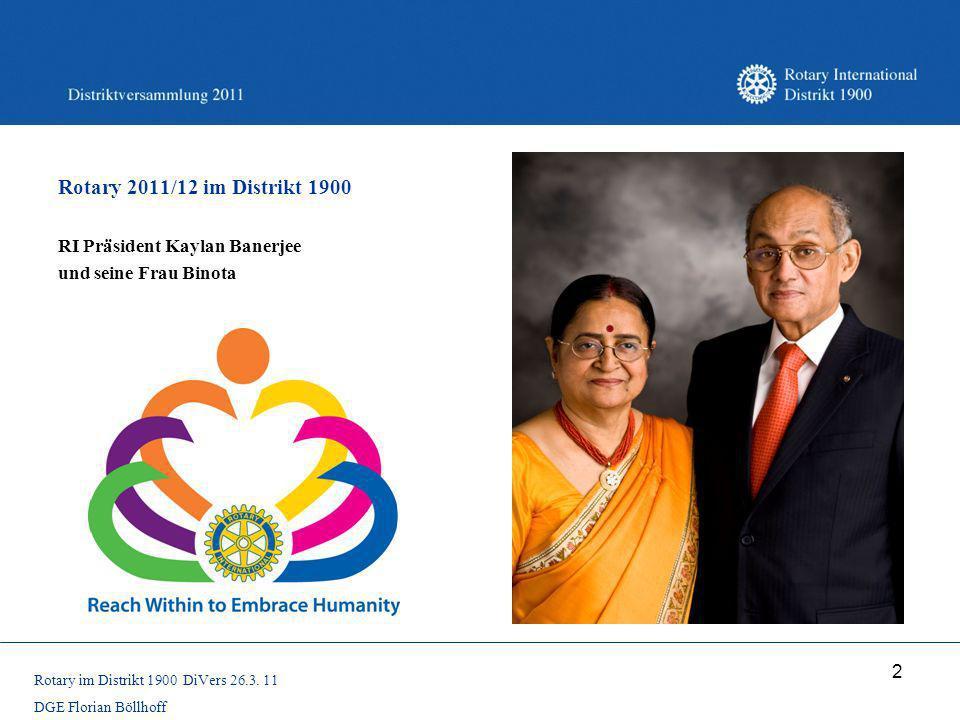 2 Rotary 2011/12 im Distrikt 1900 RI Präsident Kaylan Banerjee und seine Frau Binota Rotary im Distrikt 1900 DiVers 26.3. 11 DGE Florian Böllhoff