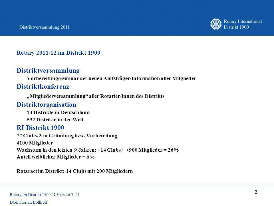 6 Rotary 2011/12 im Distrikt 1900 Distriktversammlung Vorbereitungsseminar der neuen Amtsträger/Information aller Mitglieder Distriktkonferenz Mitglie