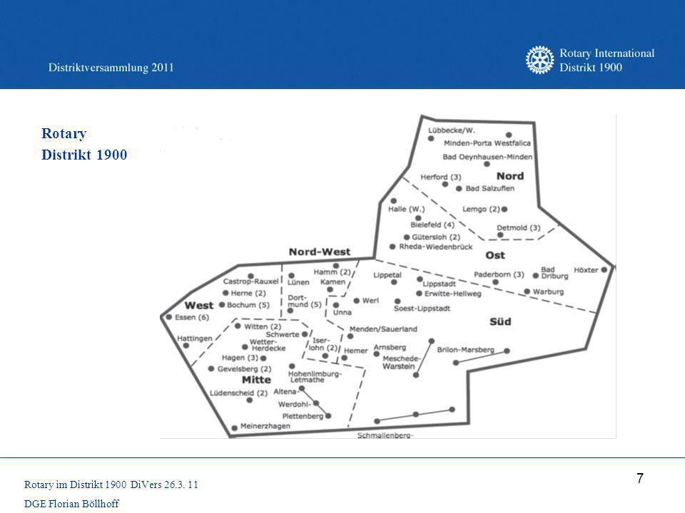 7 Rotary Distrikt 1900 Rotary im Distrikt 1900 DiVers 26.3. 11 DGE Florian Böllhoff