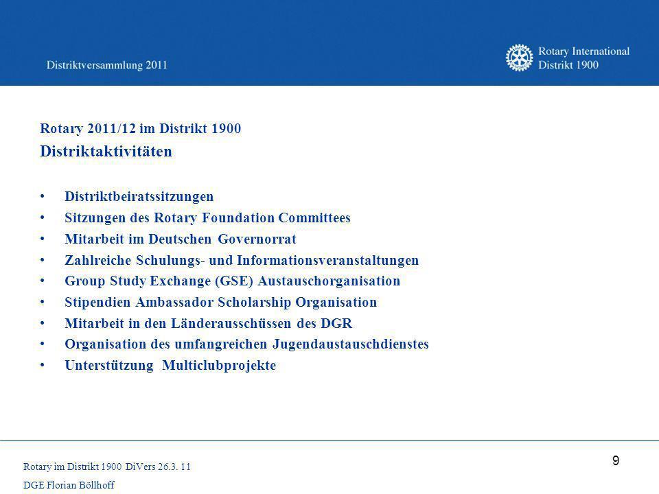 9 Rotary 2011/12 im Distrikt 1900 Distriktaktivitäten Distriktbeiratssitzungen Sitzungen des Rotary Foundation Committees Mitarbeit im Deutschen Gover